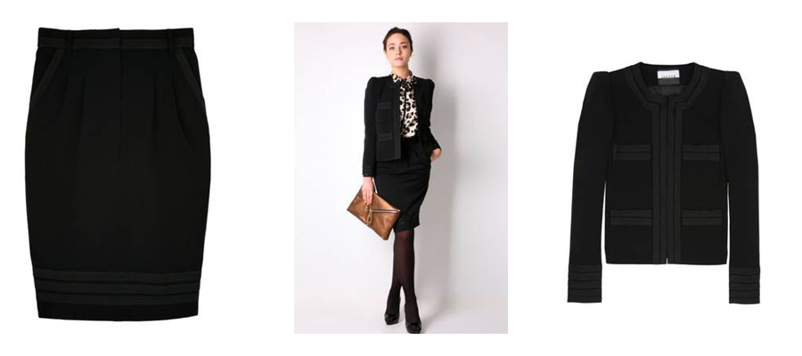 Skirt: Jaeger London, 180 euro. Jacket: Jaeger London, 280 euro