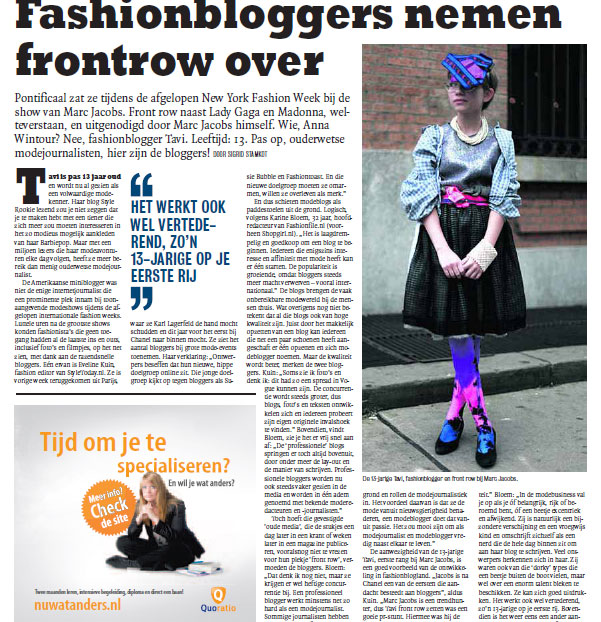 Article from newspaper Sp!ts about rising influence of Fashion Bloggers