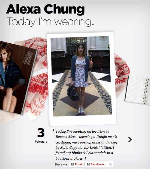 Alexa Chung's daily outfits