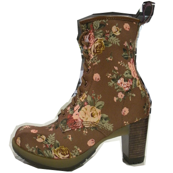 Popular rock style icon shoe comes with high heel and flower print