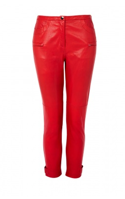 Catch of the day: red cropped leather trousers