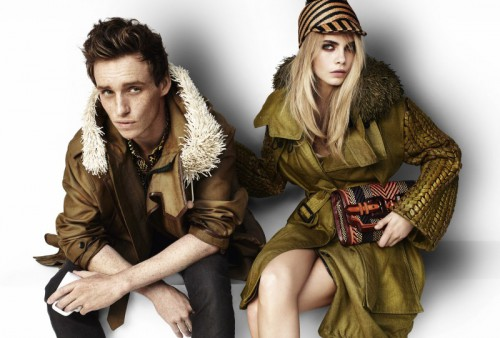Cara Delevingne and Eddie Redmayne for Burberry