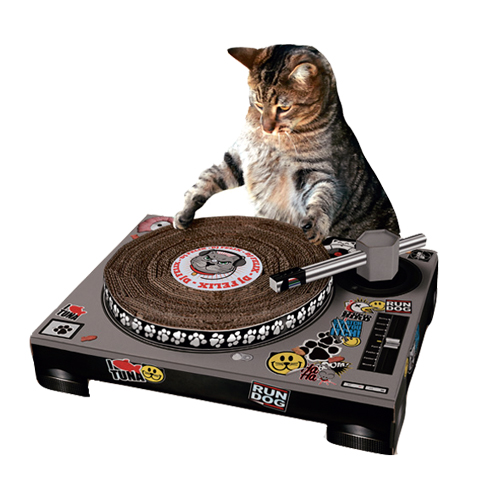 Scratch 'pole' for DJ cats
