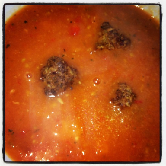 Lydia's Tomato Turkey Meatball Soup
