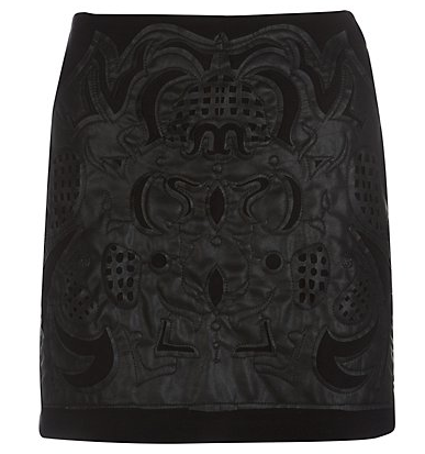 Best Budget Buy: Black leather cut-out skirt