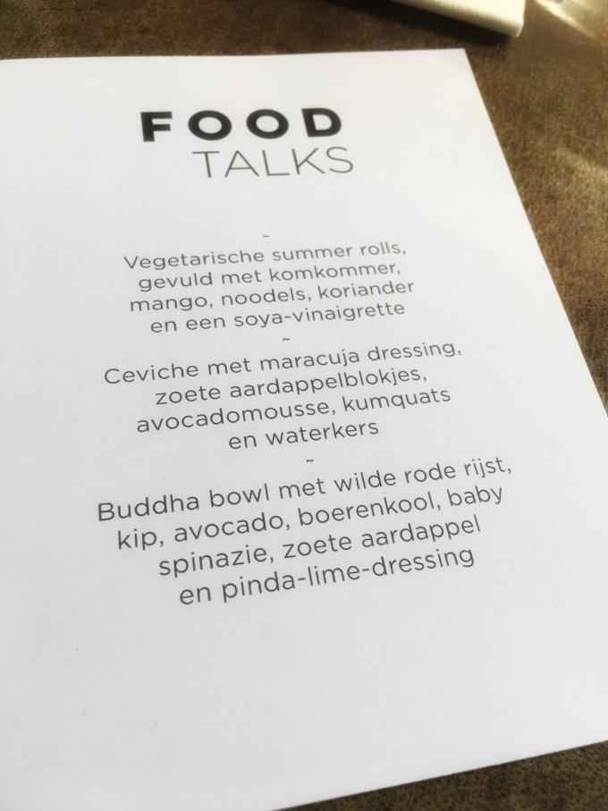 Food Talks menu